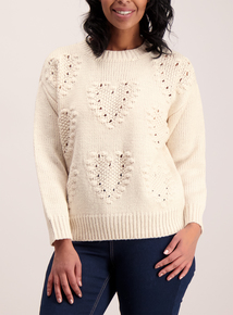 Cream Bobble Heart Jumper