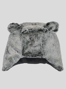 Grey Faux Fur Bear Hat (Newborn - 2 years)