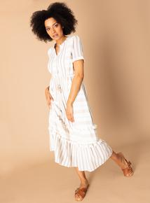 761d55c0cccd Out of stock Premium Cream Stripe Tassel Midi Dress