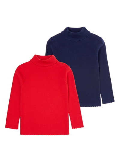 0d2ffd449dba Kids Girls Red  amp  Navy Roll Neck Jumpers 2 Pack (9 months-5 years ...