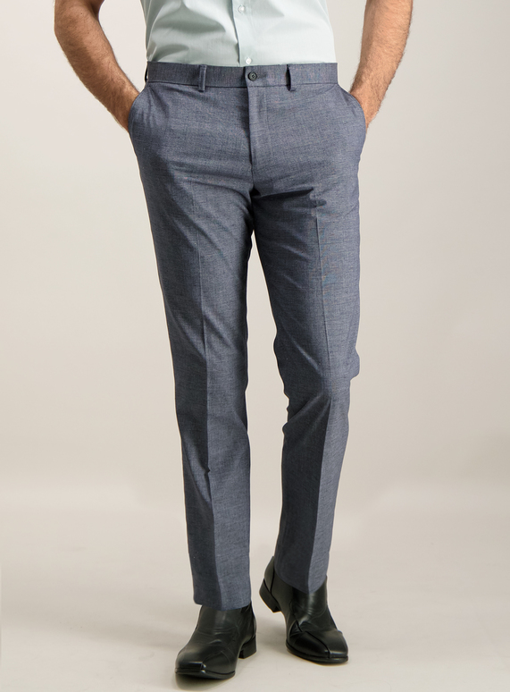 Menswear Blue Check Slim Fit Trousers With Stretch Tu Clothing