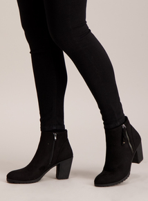 Black Chunky Cleated Sole Zip Side Boots