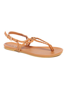 Tan Pleated Toe Post Sandals