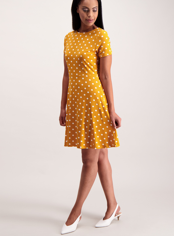 d2897a5c0a5 Womens Online Exclusive Mustard Jersey Spot Tea Dress