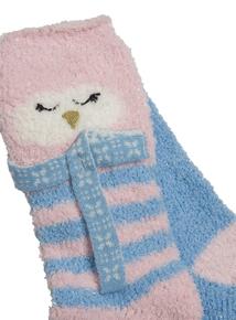 Blue & Pink Woodland Trail Owl Socks 2 Pack