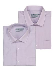 Lilac Long Sleeve Gingham & Plain Easy Iron Shirts 2 Pack
