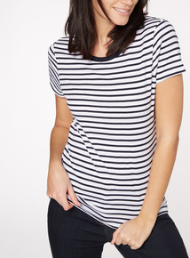 Navy Stripe Crew Neck T-Shirt