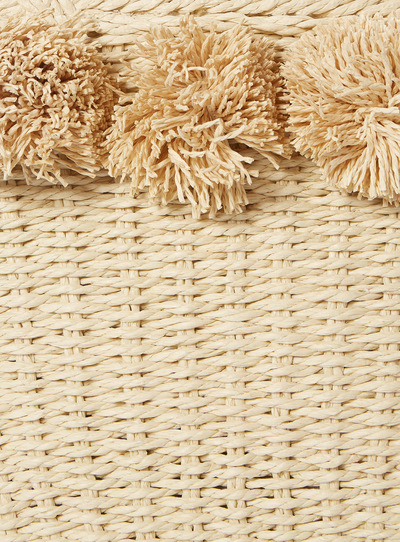 Cream Straw Pom Bag