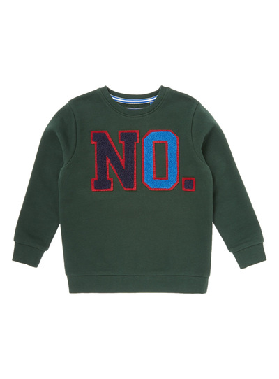 Green Textured No Sweater (3-14 years)