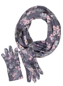 Floral Fleece Snood & Gloves Set