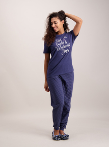 Blue 'Hot Choc' Slogan Pyjamas