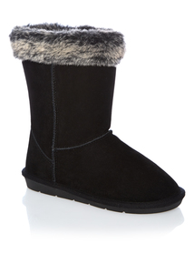 Black Fur Trim Boots