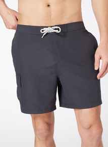 Charcoal Cargo Swim Shorties