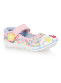 Girls Blue Floral Chambray Bumper Canvas Shoes