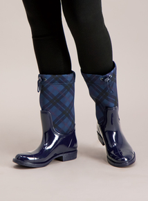 Navy Check Printed Toggle Wellies