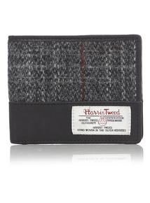 Grey Harris Tweed Leather Wallet