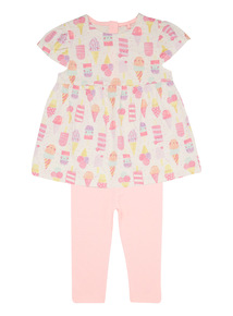 Pink Ice Cream Top And Leggings Set (0 - 24 months)