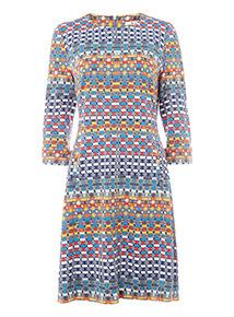 Multicoloured Printed Ponte Dress