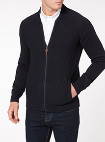 Navy Basket Stitch Knitted Raglan Bomber