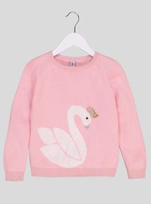 Pink Swan Motif Jumper (3-14 years)