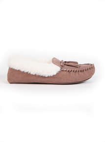 Taupe Suede Moccasin Slippers