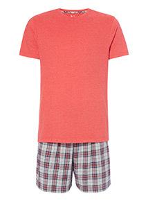 Coral Short Sleeve T-Shirt and Melange Checked Shorts Pyjama Set