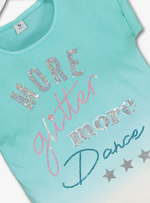 Green Ombre Glitter Slogan T-Shirt (3-14 Years)