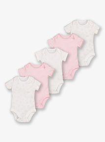 Pink & White Floral Bodysuits 5 Pack (Tiny Baby-36 months)
