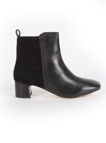 Premium Black Smart Mixed Leather Square Toe Boot