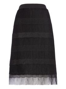 Patterned Mesh Overlay Skirt