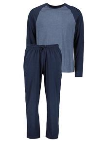 Navy Two Tone Raglan Sleeve Jersey Pyjamas