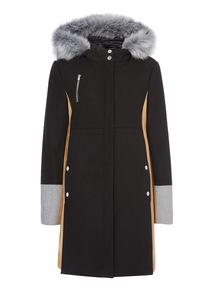Colour Block Hooded Coat