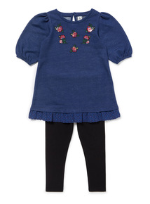 Blue Denim Dress and Black Leggings Set (3-14 years)