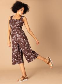 b33afcc5106 Premium Brown Linen Toile Du Jour Print Jumpsuit