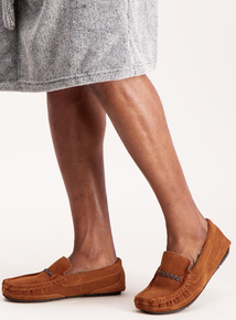Tan Suede Moccasin Slippers