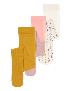 Multicoloured Opaque Tights 3 Pack
