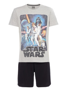 Multicoloured Star Wars Tee And Shorts PJ Set