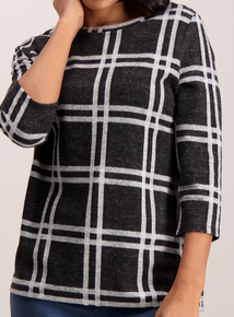 Black Check Knit Look Top