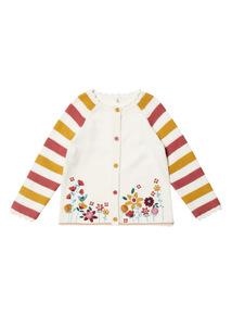 Cream Floral Embellished Cardigan (0-24 months)