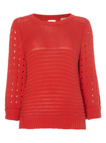Red Mesh Sleeve Jumper