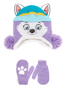 Purple Paw Patrol Hat and Mittens Set (1-6 years)