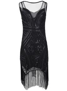 IZABEL Black Open Back Embellished Dress