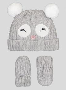Grey Owl Pom-Pom Hat And Mittens Set (Newborn - 2 years)