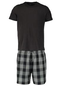 Black and Grey Pure Cotton Crew Neck T-Shirt and Short Pyjamas