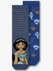 66b183b9a0a3e Online Exclusive Disney Aladdin Jasmine Blue Sock 2 Pack
