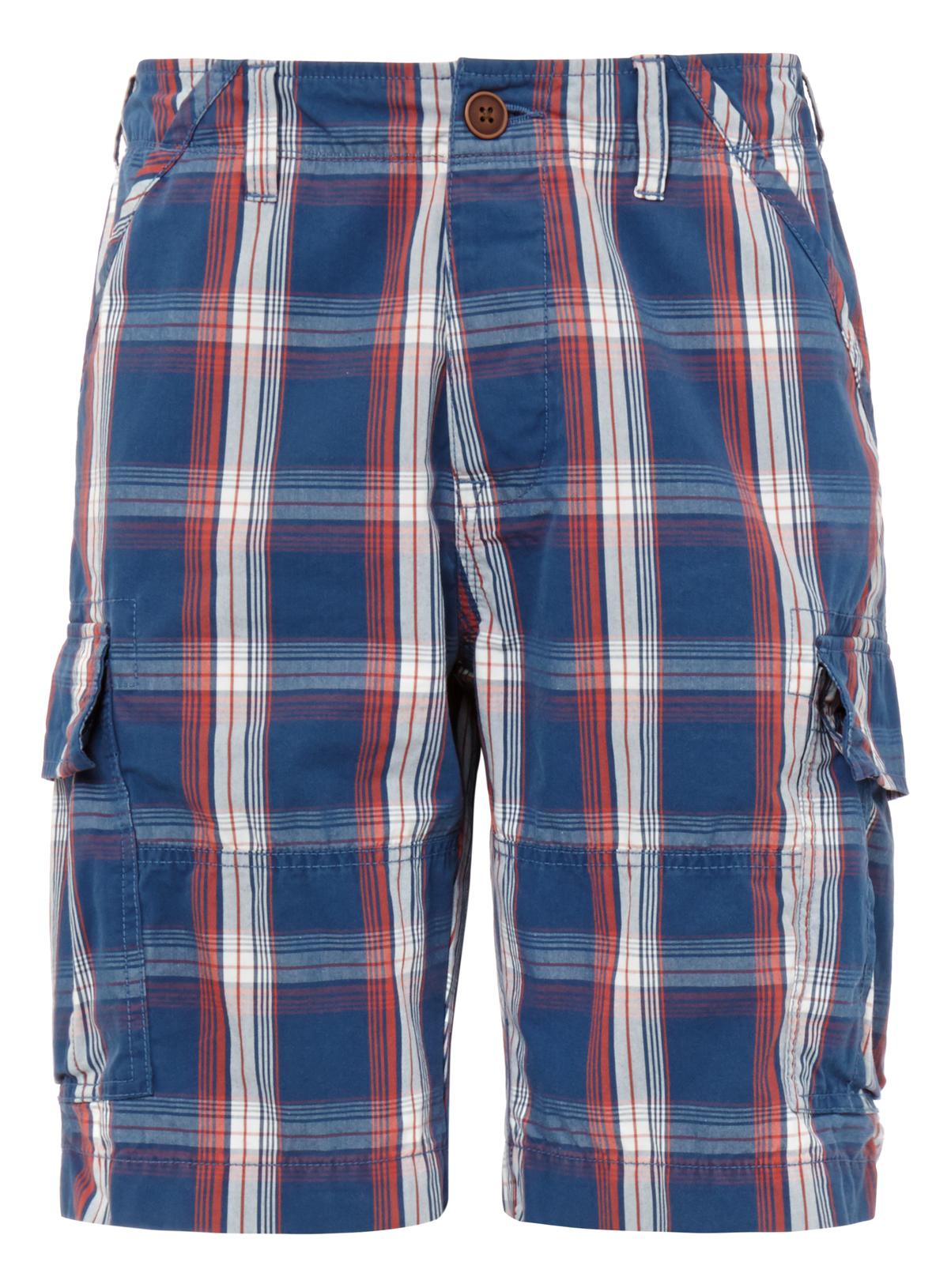 Mens Navy Checked Cargo Shorts | Tu clothing