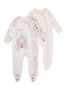 2 Pack Pink Little Princess Sleepsuits (0-24 months)