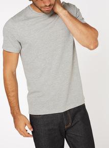 Grey Textured Crew Neck T-Shirt