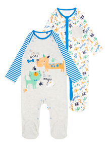 Boys Grey Dog Pattern Sleepsuit 2 Pack (0 - 24 Months)