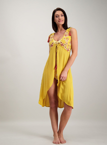 576cbb1999 Mustard Yellow Embroidered Cover Up
